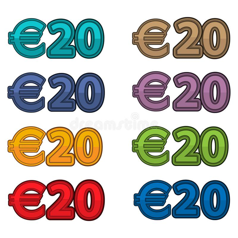 Illustration Vector of price 20 euro, Europe currency. EPS file available. see more images related vector illustration