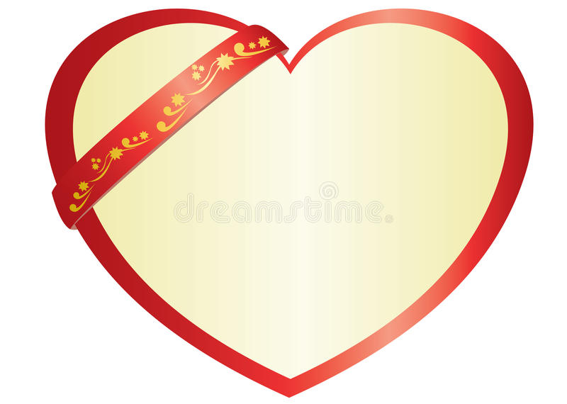Illustration Of Vector Red Heart With Ribbon Royalty Free Stock Image