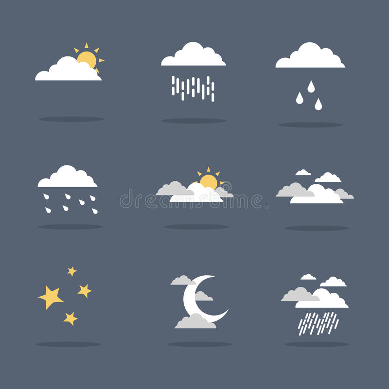 Illustration vector of weather icon set stock illustration