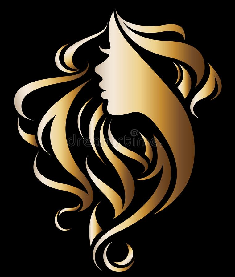Illustration vector of women silhouette golden icon vector illustration