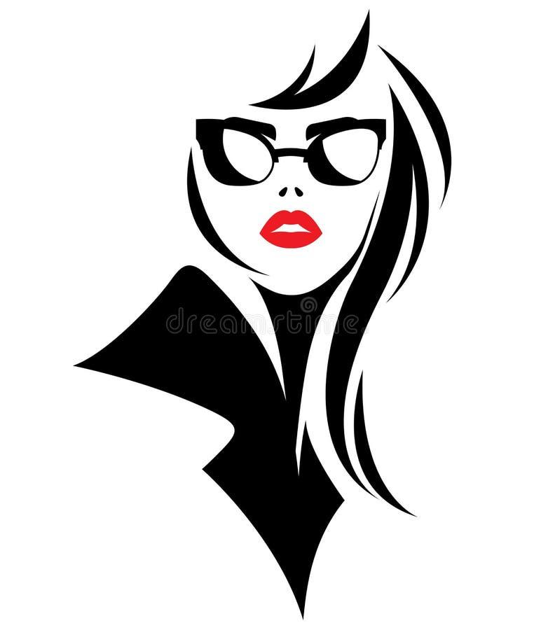 Illustration vector of women silhouette black icon on white background vector illustration