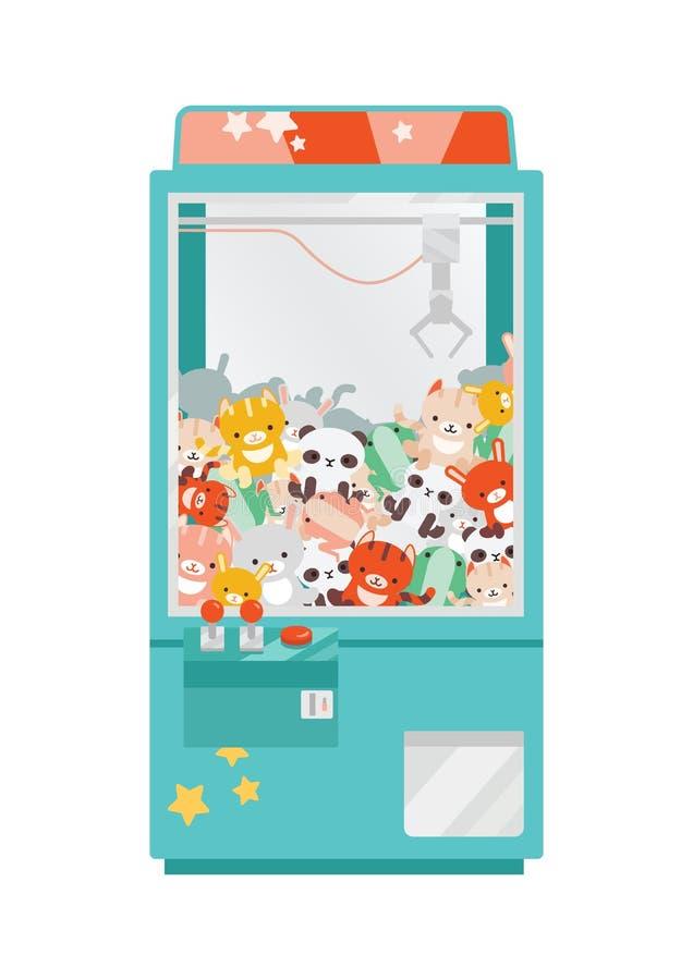 Illustration vectorielle à plat de la machine à poupée de gibier à plumes Machine à friser avec des peluches colorées Amusement p illustration libre de droits