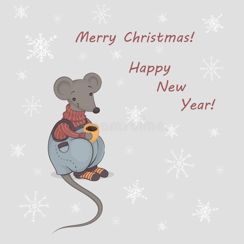 Illustration vectorielle d'une caricature mignonne souris grise dans un pull chaud et un pantalon avec une tasse de café jaune Ro illustration libre de droits