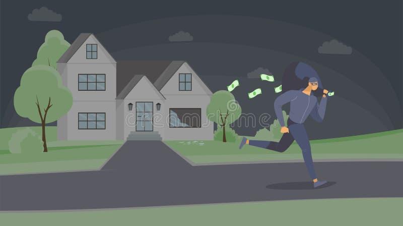 Illustration vectorielle de l'avion à air comprimé Un dangereux criminel en masque s'échappant avec un personnage de dessin animé illustration de vecteur