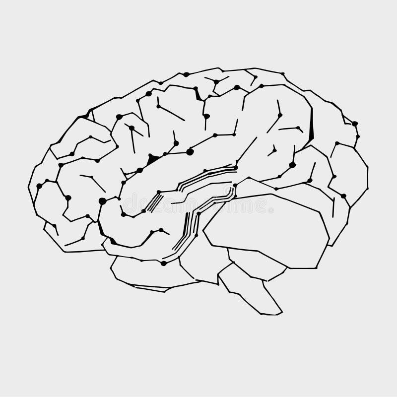 Illustration vectorielle de l'intelligence artificielle Icône de contour du cerveau cybernétique sur fond gris clair Main tirée I illustration de vecteur