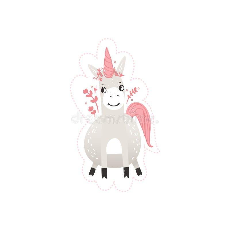 Illustration vectorielle de personnage fantastique de la bande dessinée à plat unicorne magique isolée illustration libre de droits