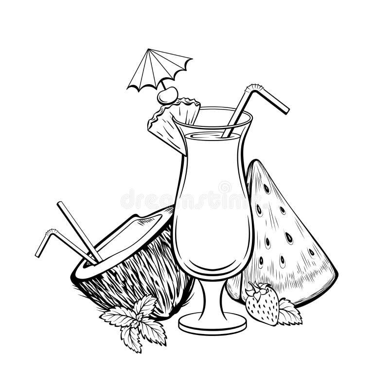 livre de coloriage cocktail de noix de coco avec la