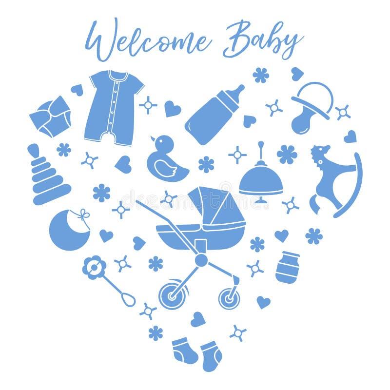 Illustration vectorielle du nouveau-né. Des trucs pour enfants, des jouets illustration libre de droits