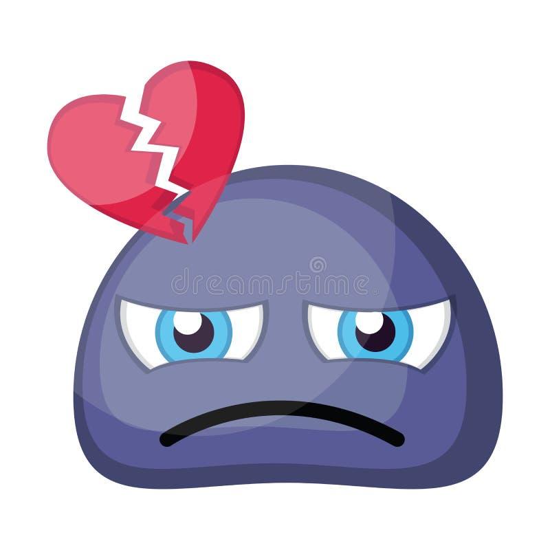 Illustration vectorielle du visage de l'émoticône bleu au coeur brisé sur une illustration libre de droits