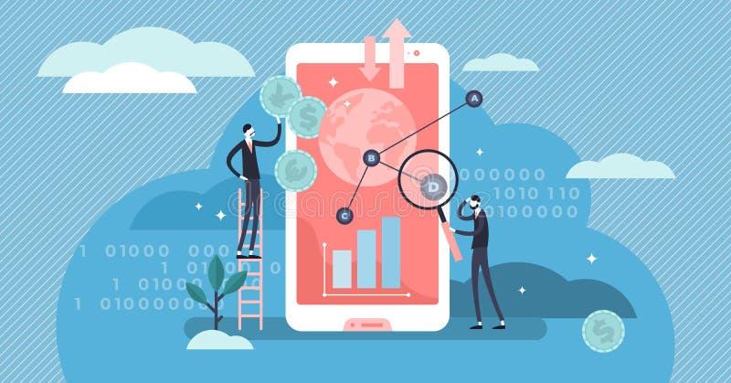 Illustration vectorielle Fintech Concept de personnes de technologie financière minuscule et plate illustration de vecteur