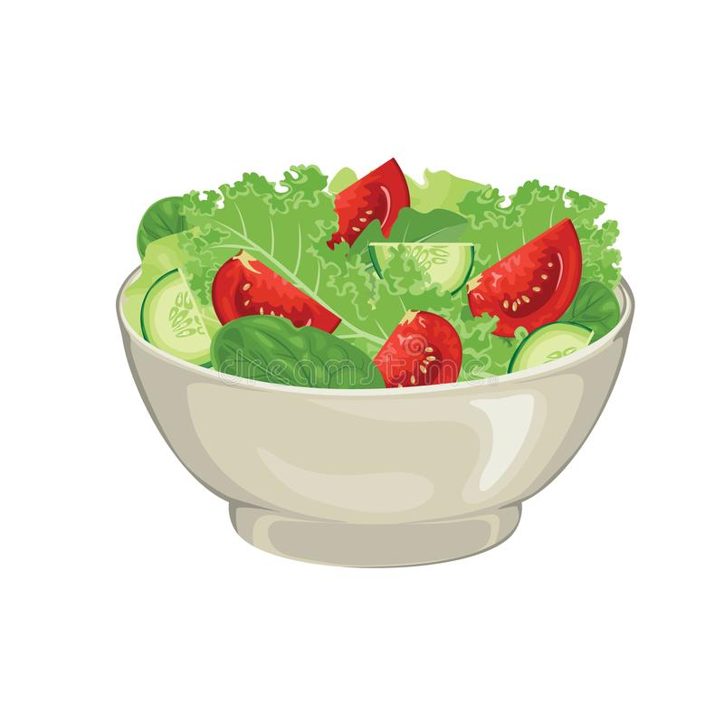 Illustration of vegetable salad in bowl.  Fresh green salad leaves, tomato and cucumber slices In cartoon simple flat style. royalty free illustration