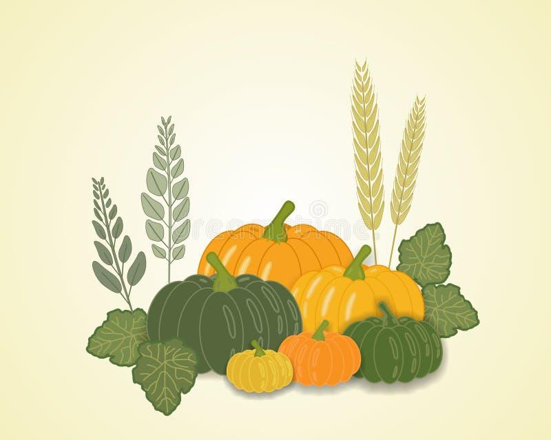 Illustration of vegetables in autumn, vector stock illustration