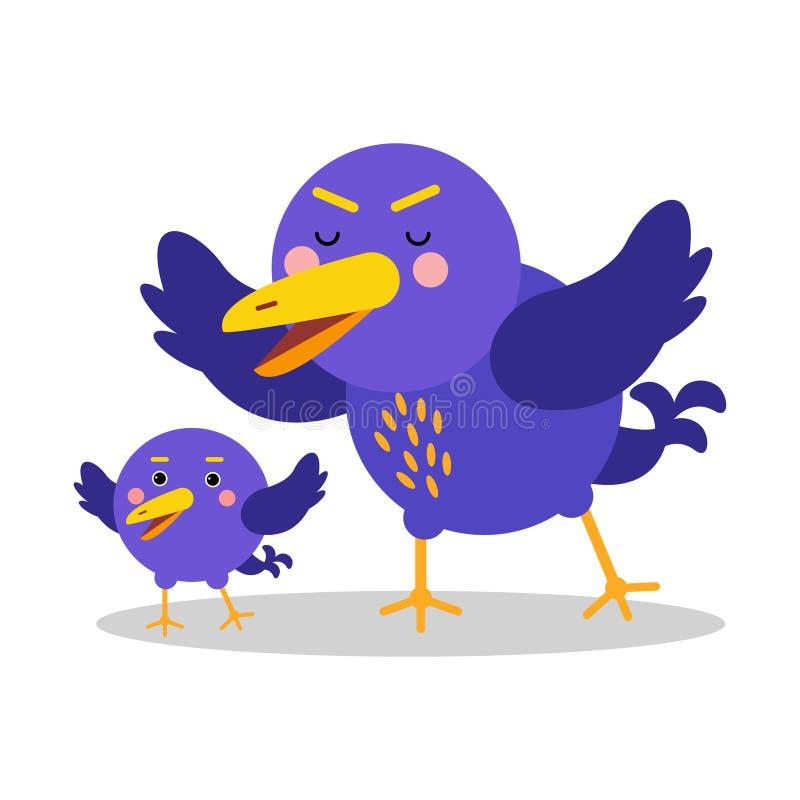 Illustration Vektor mit zwei blaue Vogelcharakteren der netten Karikatur vektor abbildung