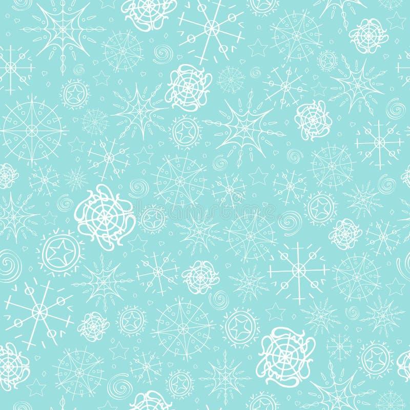 Illustration vektormodell bild av snöflingor, vinter ljus - blå bakgrund för julkorten som förpackar royaltyfri illustrationer