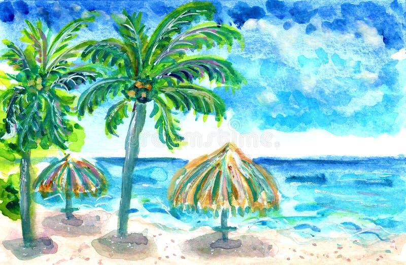 Illustration verte bleue d'aquarelle de turquoise de mer d'océan de parapluies de paume de plage d'été illustration libre de droits