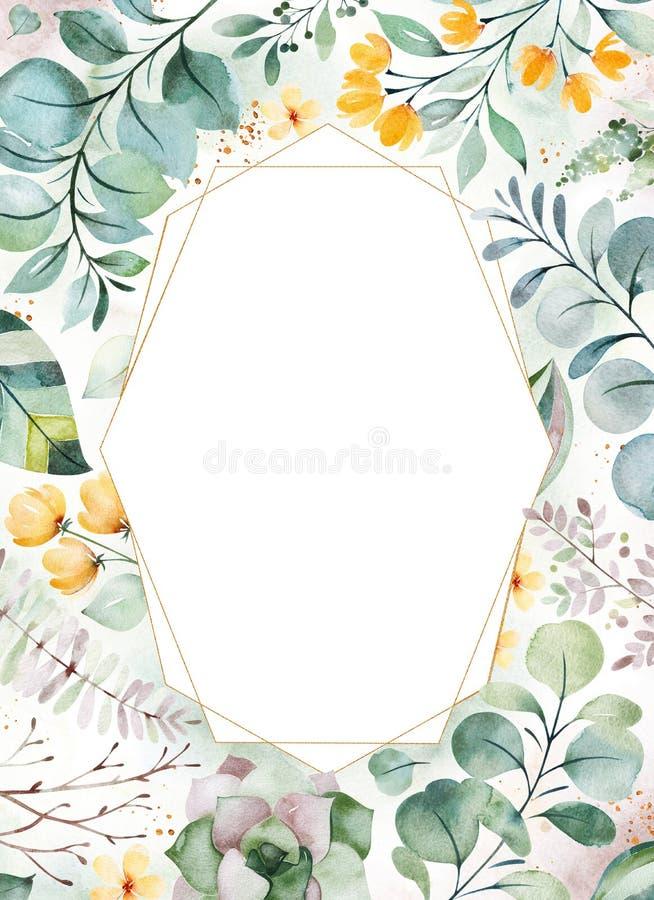 Illustration verte d'aquarelle carte de voeux Pr?-faite avec les usines succulentes, palmettes, fleurs, branches illustration libre de droits