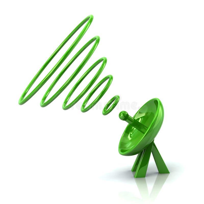 Illustration verte de l'antenne 3d d'antenne parabolique illustration libre de droits
