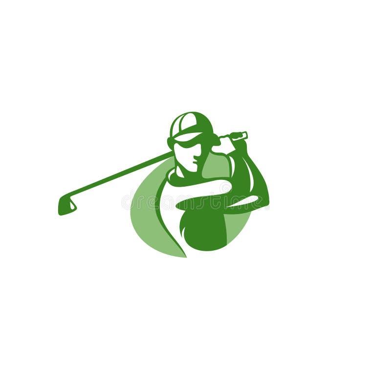 Illustration verte de vecteur de calibre de logo de joueur de golf illustration stock