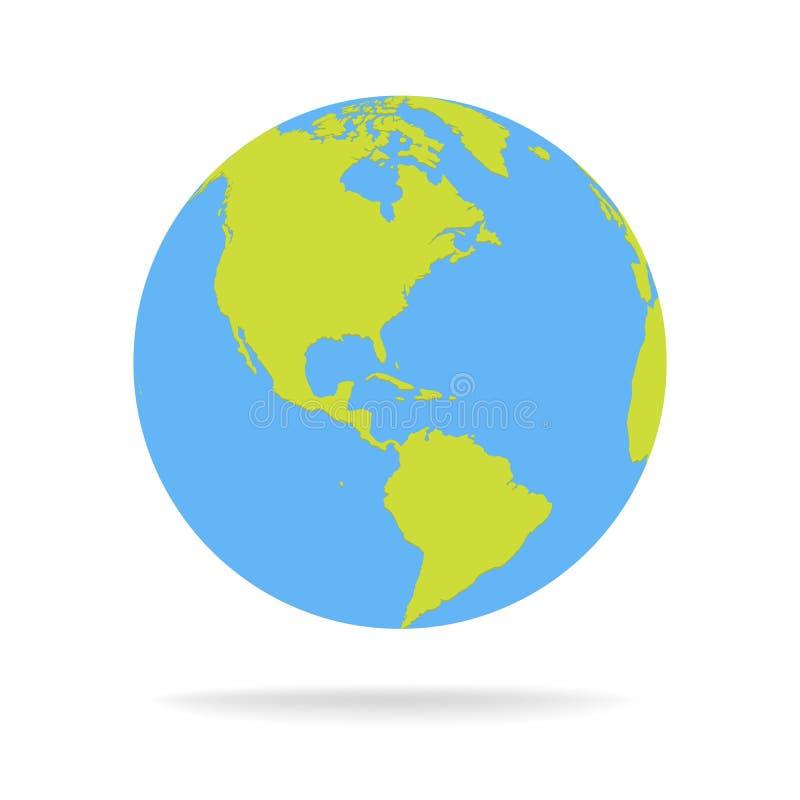 Illustration verte et bleue de vecteur de globe de carte du monde de bande dessinée photo stock