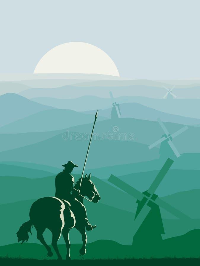 Illustration verticale de cavalier Don Quixote galopant dedans pour illustration stock