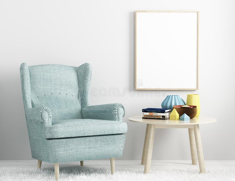 Illustration verticale de la maquette 3d de blanc de vue d'affiche de portrait illustration stock