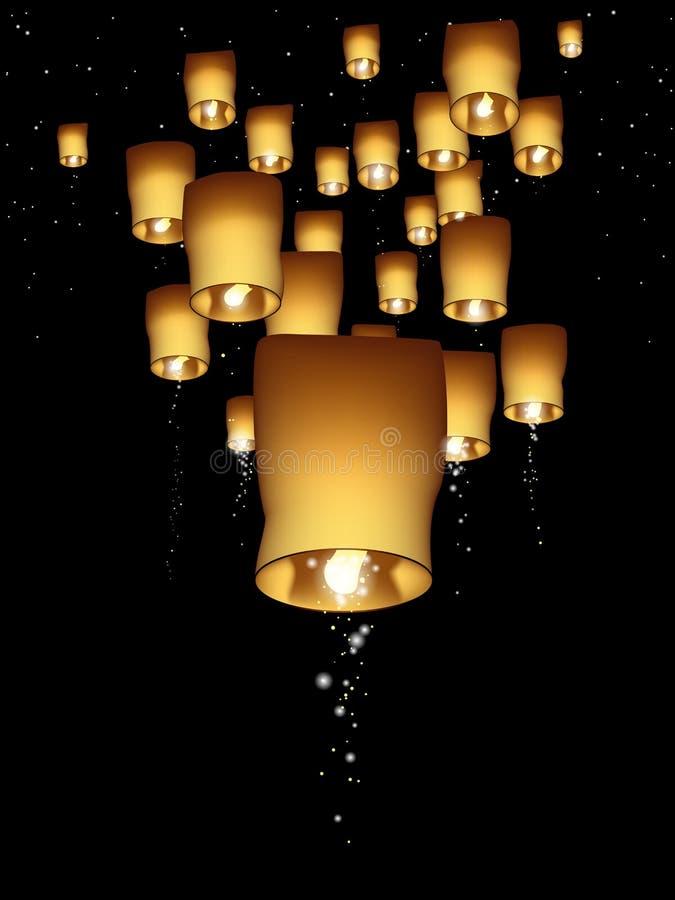 Illustration verticale de lanterne de ciel illustration libre de droits