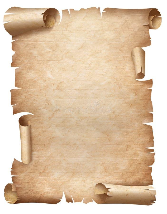 Illustration verticale de parchemin usé antique d'isolement sur le blanc illustration libre de droits