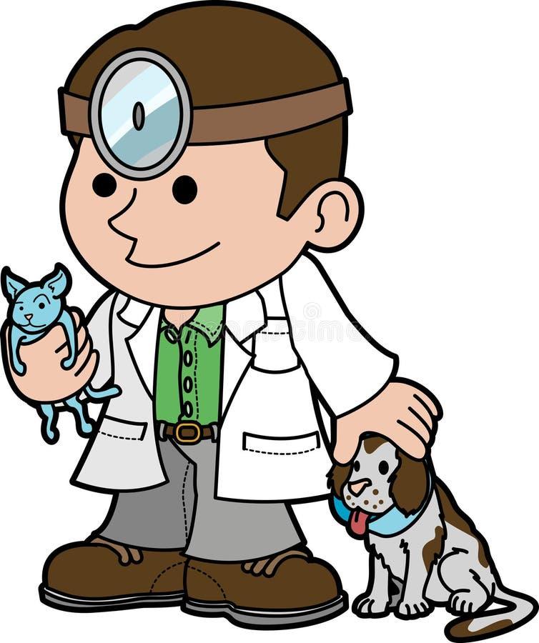 Illustration vet and animals vector illustration