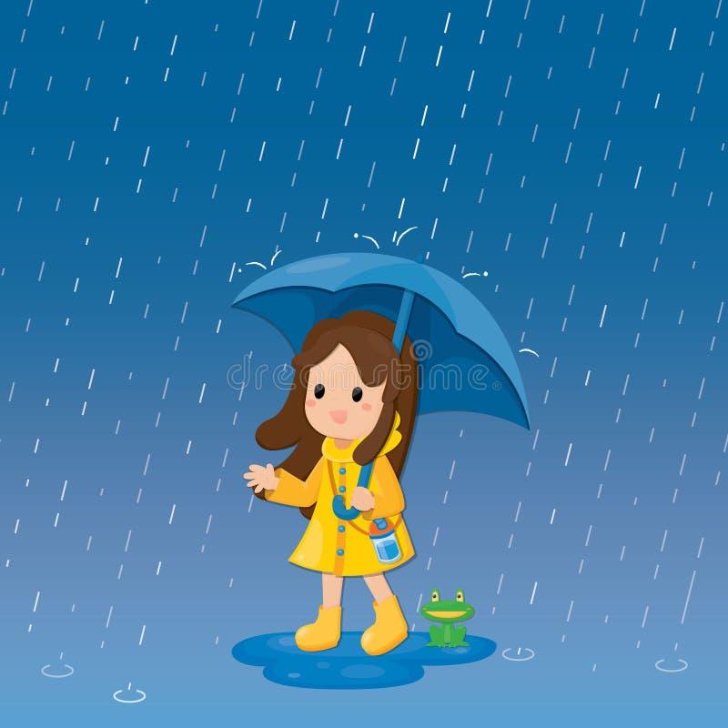 Illustration vicieuse fille mignonne sous un parapluie en arrière-plan Personnage de dessin illustration libre de droits