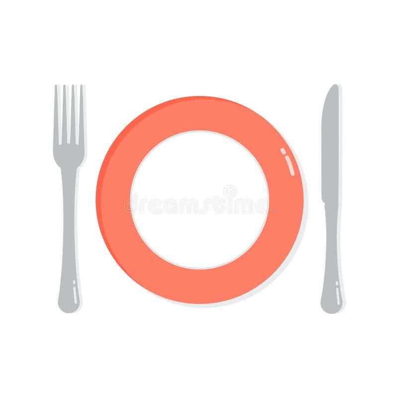 Illustration vide de plat, de couteau et de fourchette assiettes Fond d'ustensiles illustration stock