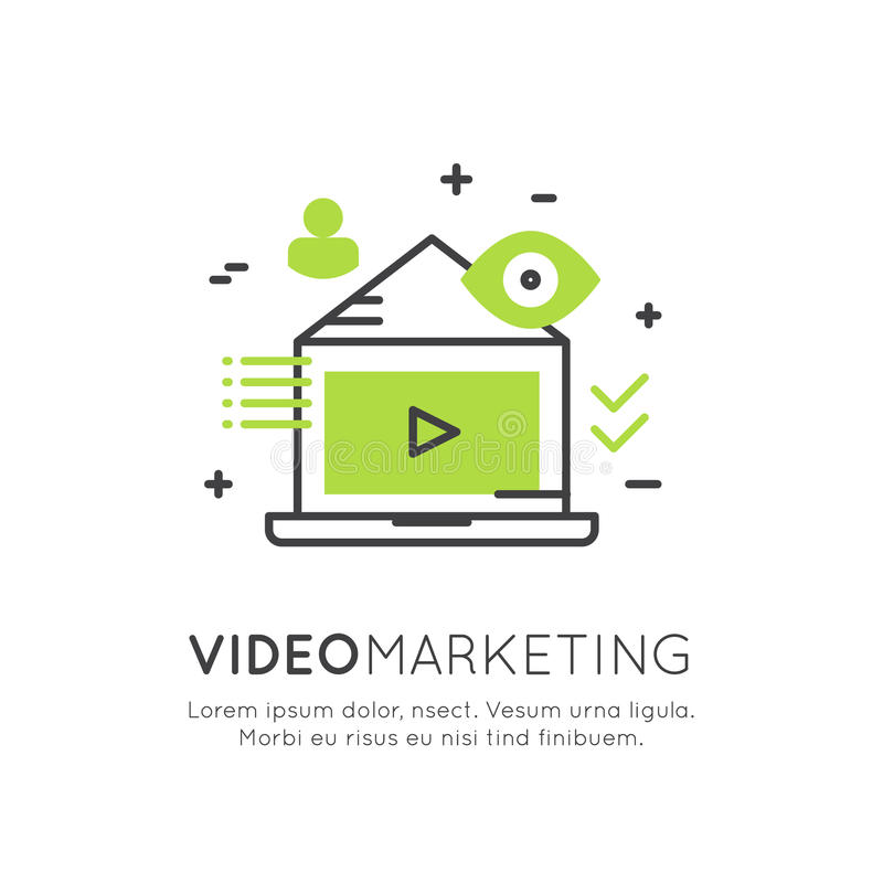 Illustration of Video Marketing, Internet E-Mail or Mobile Notifications and Offer Marketing and Social Campaign royalty free illustration