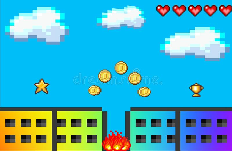 Illustration of video pixel game landscape concept background. Illustration video pixel game landscape concept background blue colors joy happy play funny kid vector illustration