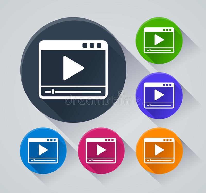 Video player icons with shadow royalty free illustration