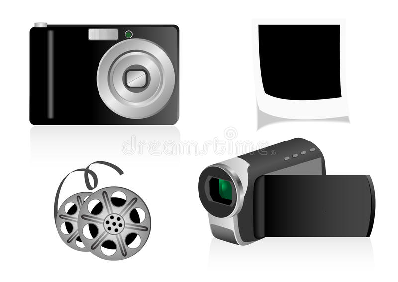Download Illustration Of A Videocamera And A Photo Camera Stock Vector - Image: 15811140