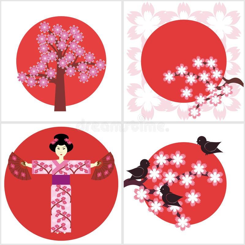 Illustration vier in der japanischen Art stock abbildung