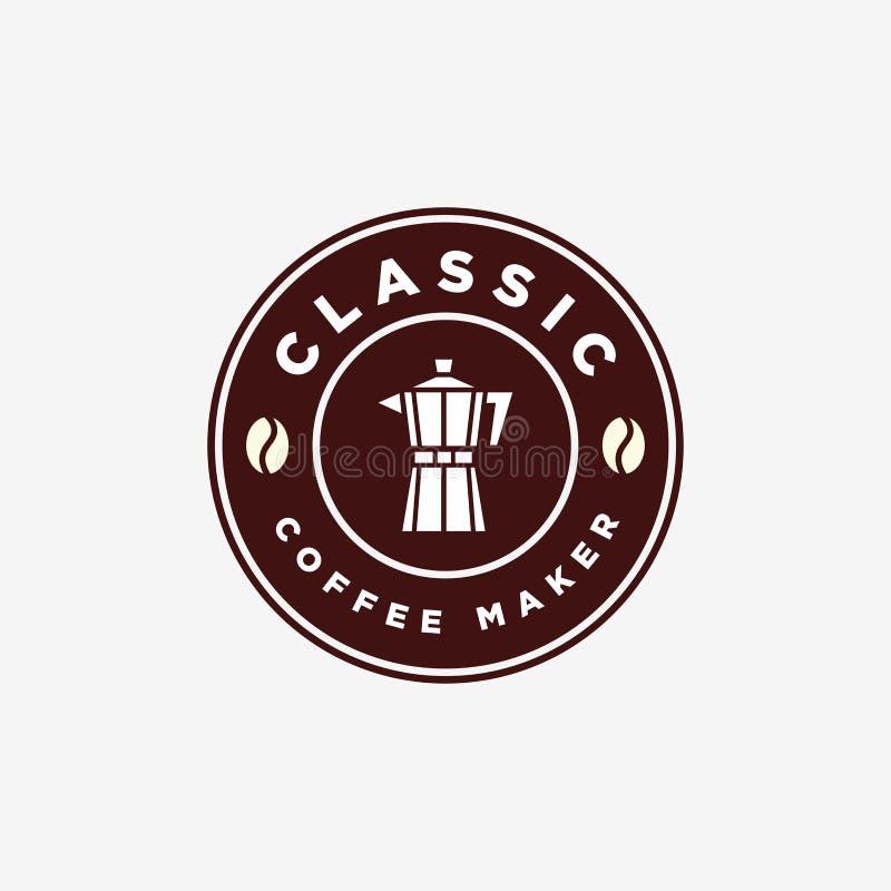 Vintage Coffee Maker Moka Pot Emblem Logo Design Template royalty free stock photos