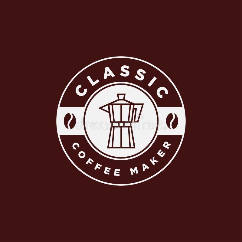 Vintage Coffee Maker Moka Pot Emblem Logo Design Template stock images