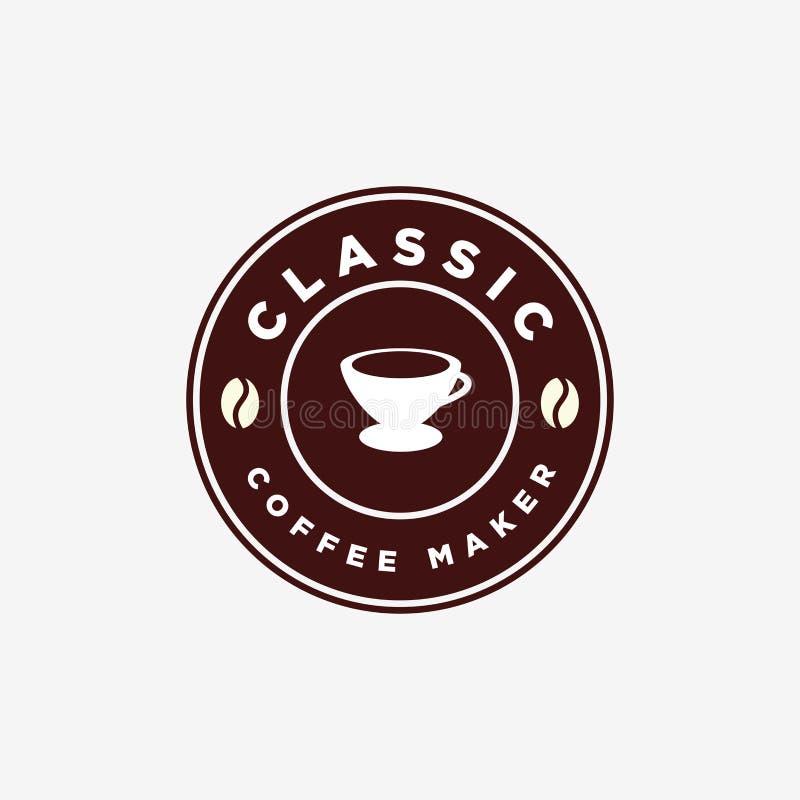 Vintage Coffee Maker V60 Manual Brew Emblem Logo Design Template royalty free stock photo