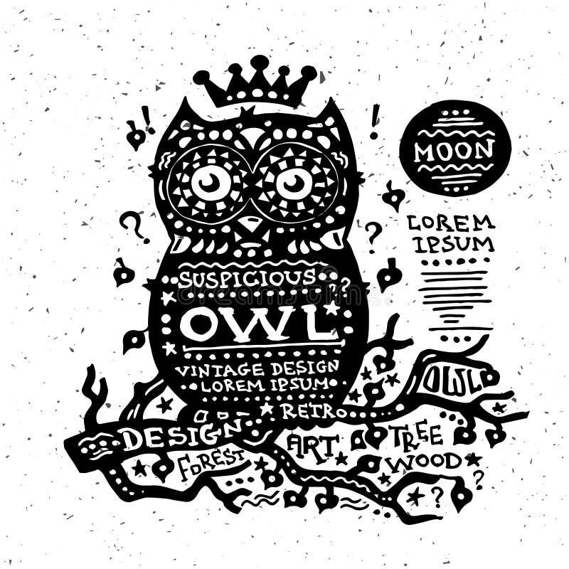 Illustration of vintage grunge label with guitar vector illustration
