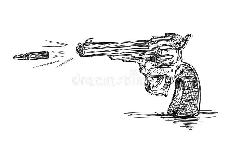 Illustration Vintage / Old Revolver Gun with Bullet Vector illustration de vecteur