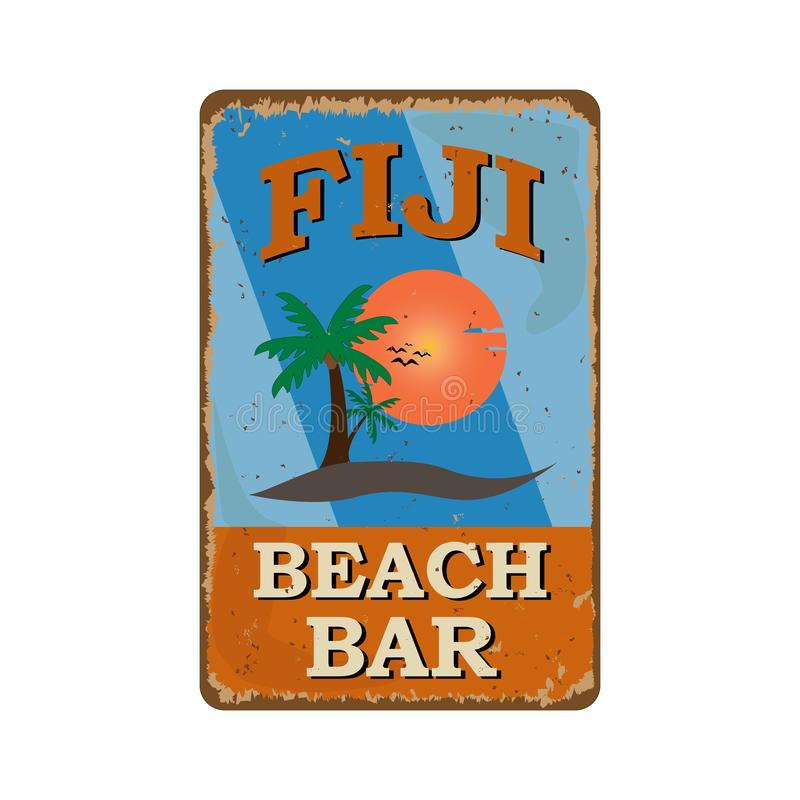 Illustration of vintage poster for fiji beach bar club vector illustration