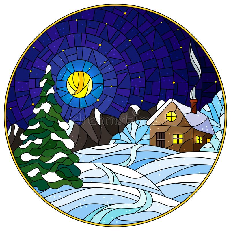 Stained glass illustration winter landscape, village house and fir-tree on a background of snow, starry sky and moon, round image stock illustration