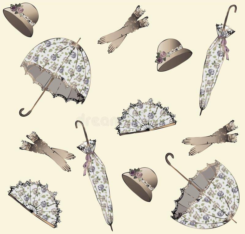 Illustration of vintage umbrella, hat, fan, glove. stock illustration