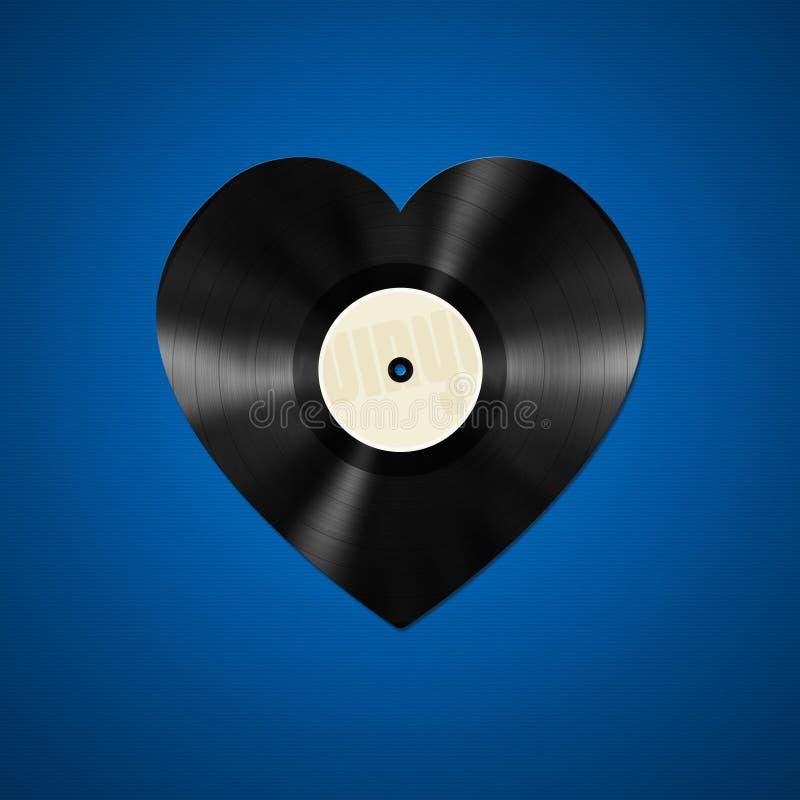 Vinyl heart shape. An illustration of an vinyl record in heart shape royalty free stock photography