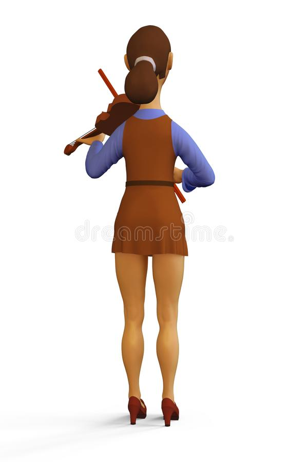Illustration of Violinist. 3d render Illustration of Violinist Woman Girl Playing the Violin Instrument, Full-length character, Back view, Isolated On white vector illustration