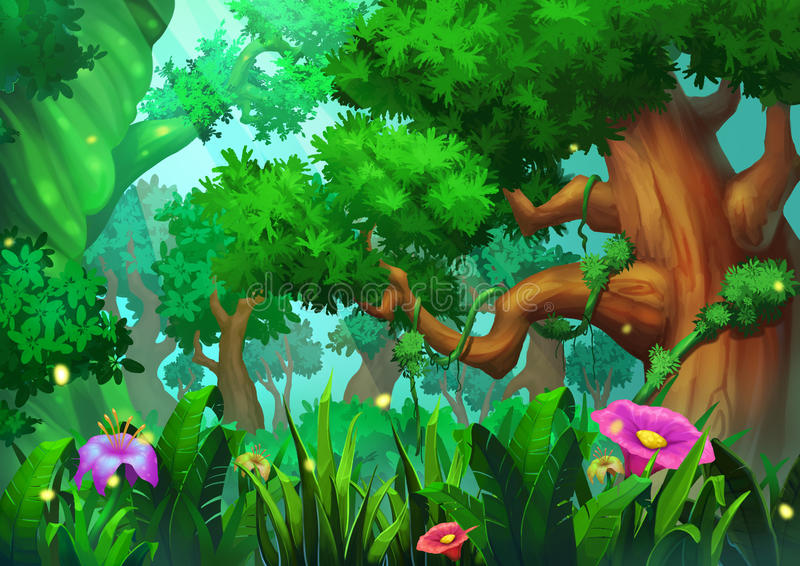 Illustration: The Virgin Forest with Green Trees, Grasses and Flowers. Realistic Cartoon Style Scene / Wallpaper / Background Design royalty free illustration