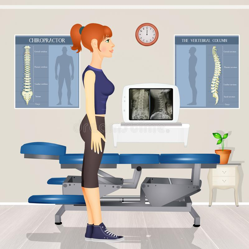 Visit to the chiropractor vector illustration