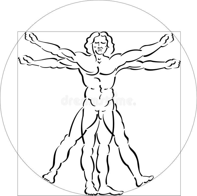 Illustration of Vitruvian Man royalty free illustration
