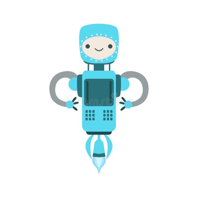 Illustration volante amicale bleue de bande dessinée de vecteur de caractère de robot d'Android illustration stock