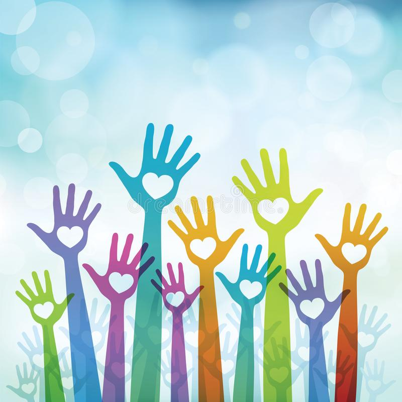 Volunteer hands vector illustration